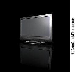 monitor, auf, schwarzer hintergrund