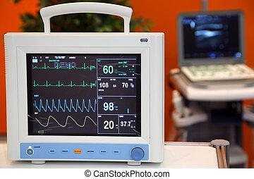monitor cardíaco, com, vital, signs:, ekg, pulso, oximetry,...