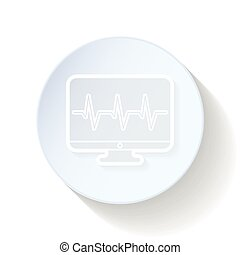 Monitor cardiogram thin lines icon vector graphic...