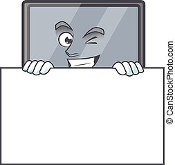 Monitor cartoon character with funny face hides behind a board