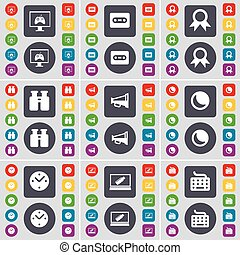 Monitor, Cassette, Medal, Binoculars, Megaphone, Moon, Clock, Laptop, Keyboard icon symbol. A large set of flat, colored buttons for your design. Vector