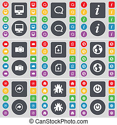 Monitor, Chat bubble, Information, Camera, Download file, Earth, Back, Bug, Power icon symbol. A large set of flat, colored buttons for your design.