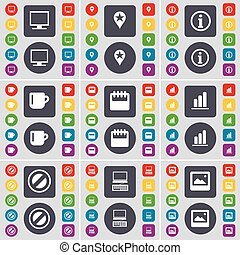 Monitor, Checkpoint, Information, Cup, Calendar, Diagram, Stop, Laptop, Window icon symbol. A large set of flat, colored buttons for your design. Vector