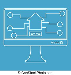 Monitor chip icon, outline style