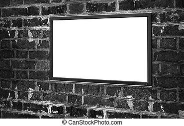 monitor, com, tela branco, para, espaço cópia