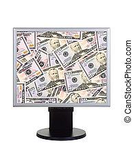 monitor computador, com, dinheiro