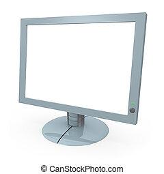 monitor computador, com, tela branco