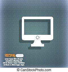 monitor computador, espaço, azul-verde, abstratos, widescreen, text., sinal, vetorial, icon., fundo, sombra, seu