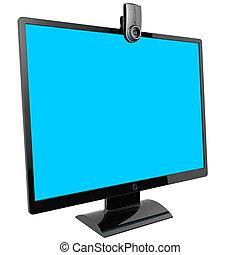 monitor., computadora, vídeo, call.