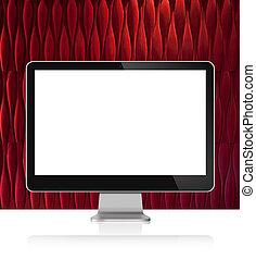 monitor computer, bianco, tavola, con, parete rossa, fondo