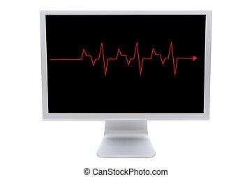 monitor computer, con, uno, linea rossa