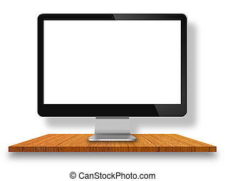monitor computer, su, legno, tavola, con, parete bianca, fondo