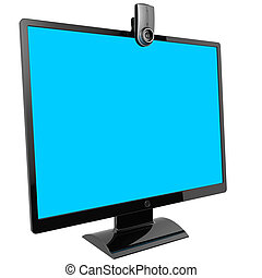 monitor., computer, video, call.