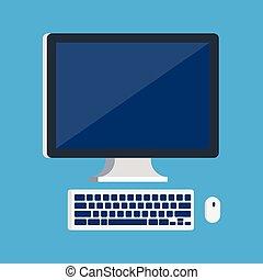 monitor, con, tastiera, e, mouse elaboratore