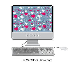 monitor, con, tastiera, e, topo