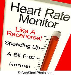 monitor coração, muito, mostrando, taxa, rapidamente,...