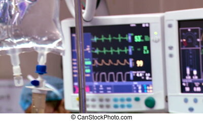 monitor cuore, in, ospedale, funzionante