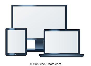 monitor de la computadora, computador portatil, y, tableta