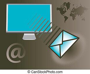 monitor de la computadora, con, email