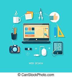 monitor de la computadora, con, programa, para, diseño