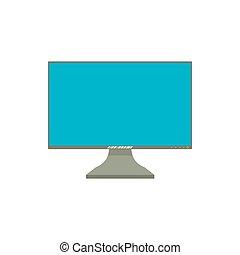 monitor de la computadora, icono, caricatura, estilo