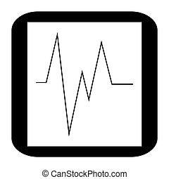 monitor, elektrokardiogramm, ikone