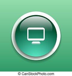 monitor, ellenző, elszigetelt, számítógép, bemutatás, ikon
