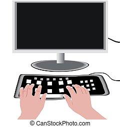 monitor, en, een, toetsenbord