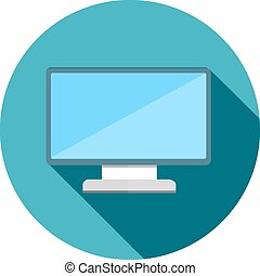 monitor flat icon with long shadow vector