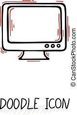 monitor., gekritzel, monoblock., desktop-computer, ikone