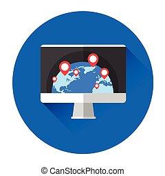 monitor, globe, computer, aarde, navigatie, pictogram
