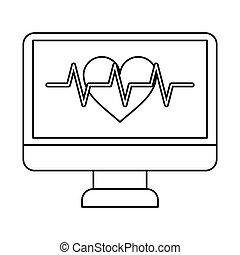 monitor heartbeat cardiology rhythm thin line