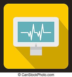 Monitor heartbeat icon, flat style