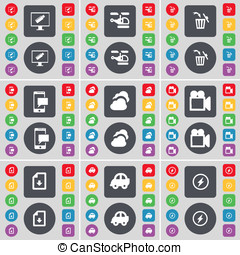 Monitor, Helicopter, Trash can, SMS, Cloud, Film camera, Download file, Camera, Flash icon symbol. A large set of flat, colored buttons for your design.