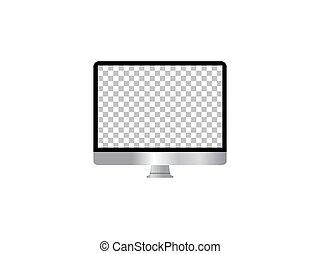 monitor, icon., design., apartamento, computador, ilustração, vetorial