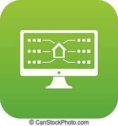 Monitor icon green vector