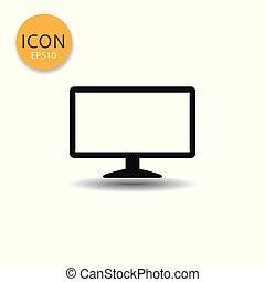 Monitor icon isolated flat style.
