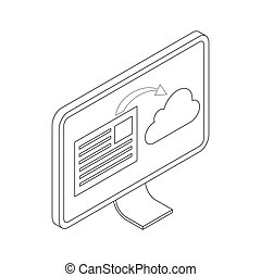 Monitor icon, isometric 3d style - Monitor icon in isometric...