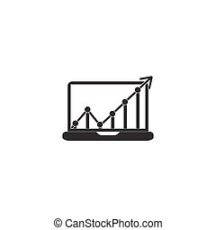 Monitor icon vector, solid illustration, pictogram isolated on w