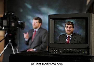monitor, in, tv, fabriekshal, studio, het tonen, mens het...
