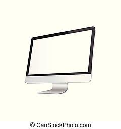 monitor, isolato, schermo, su, desktop, realistico, vettore, white., vuoto, o, beffare