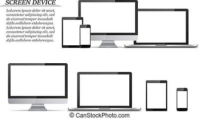 monitor, jogo, tabuleta, laptop, computador, em branco, screens., smartphone