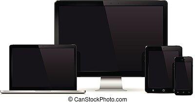 monitor, jogo, tabuleta, mockup, móvel, isolado, telefone, laptop, computador pc, experiência., realístico, dispositivo, branca, template.