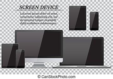 monitor, jogo, tabuleta, realístico, móvel, tela, laptop, telefone, computador, experiência preta, transparente, vazio
