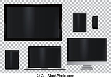monitor, jogo, tabuleta, telefone, móvel, laptop, realístico, computador, tv, lcd, conduzido