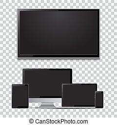 monitor, jogo, tv, tabuleta, laptop, computador, em branco, screens., smartphone