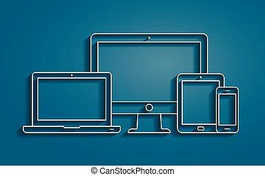 monitor, laptop, pc tavoletta, e, smartphone, vettore, contorno, icone