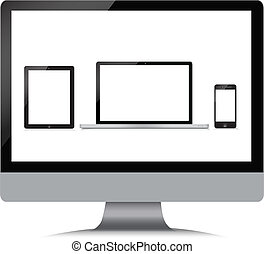 Monitor, laptop, phone, tablet on a white background