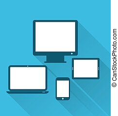 Monitor, laptop, tablet computer, and mobile phone, flat icons with long shadows