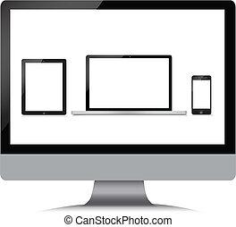 monitor, laptop, telefono, tavoletta